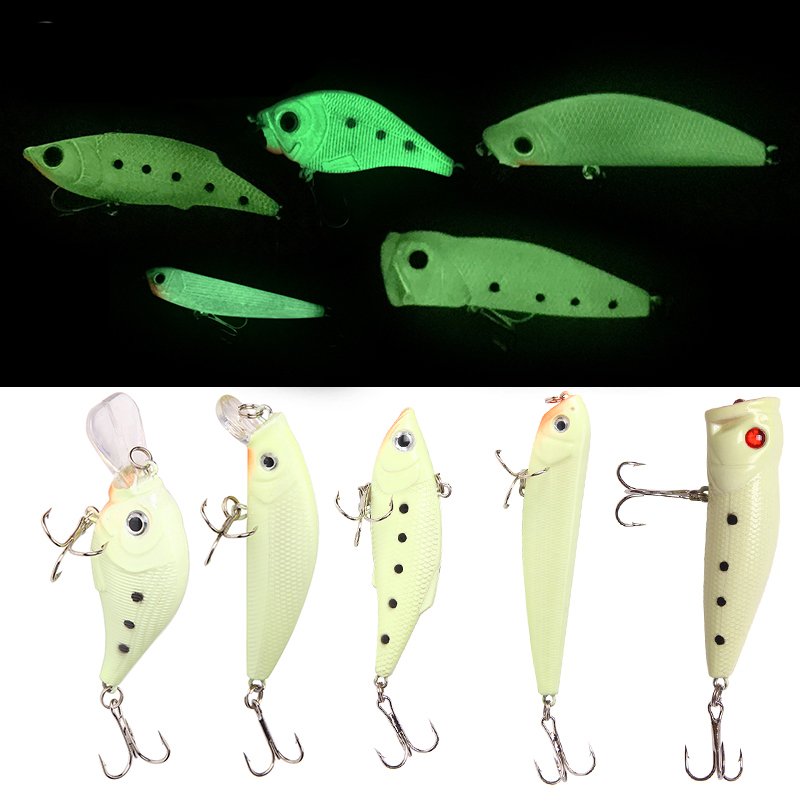 Luminous Fishing Lure Set Crankbait Pencil Jerkbait VIB Sinking Wobbler Minnow Popper topwater bass bait isca artificial Fishing
