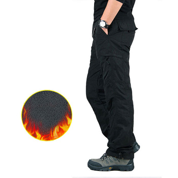 Men s Cargo Pants Thick Fleece Multi Pockets Military Tactical Pants Cotton Men Outwear Straight