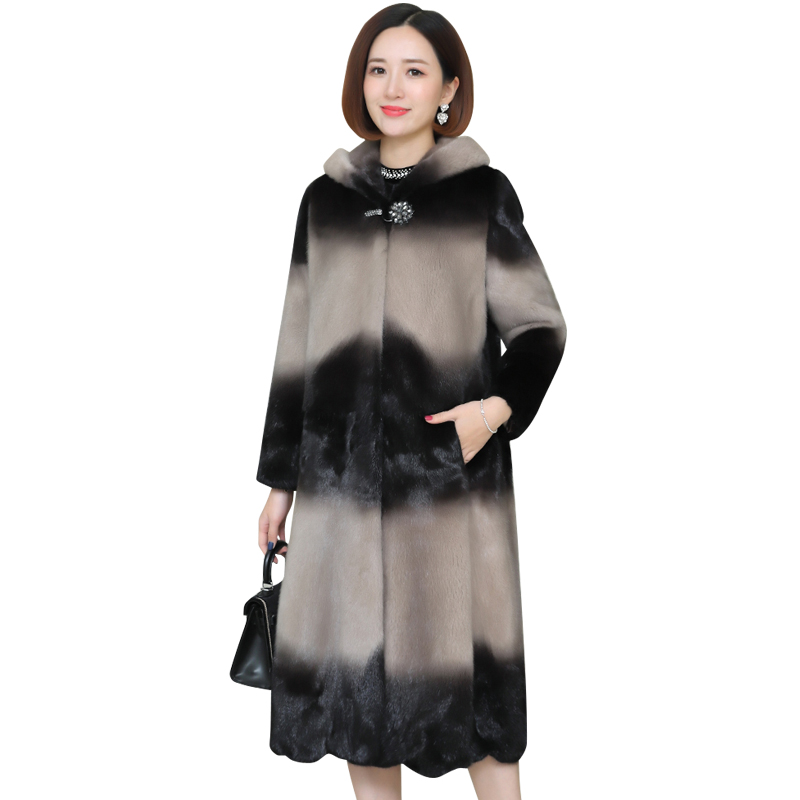 The Entire Mink Parka Women's Fashion Slim Slim Mid-length Thicken Plus Size Grass Mink Fur Mink Coat Winter Women Overcoat