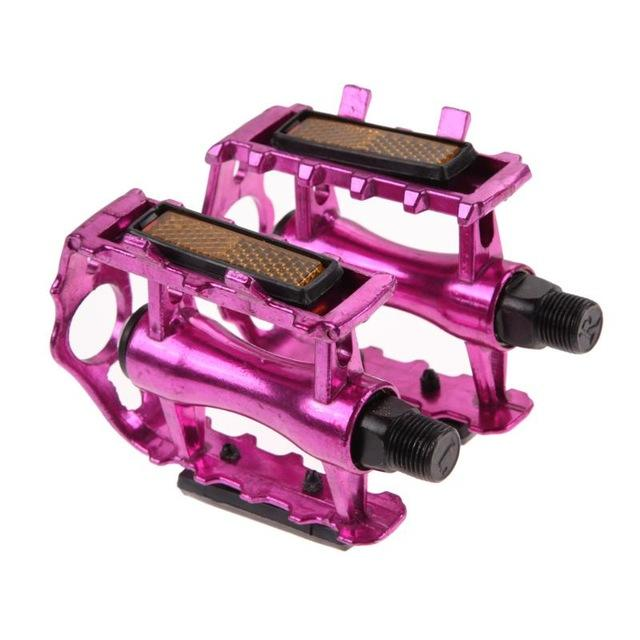 1Pair MTB Ultralight Bike Bicycle Pedals Mountain Road Bike Part Pedal Cycling Aluminum Alloy Ultra-Light Hollow Flat CagePedals - Color: Pink