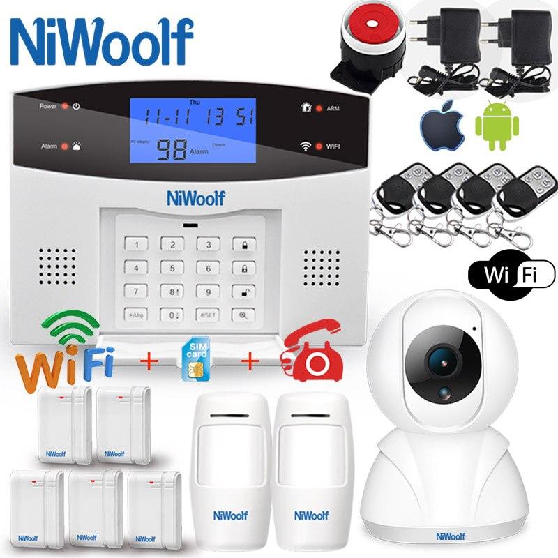 wifi pstn gsm sistema de alarme compativel com 433 mhz sem fio com fio detectores porta