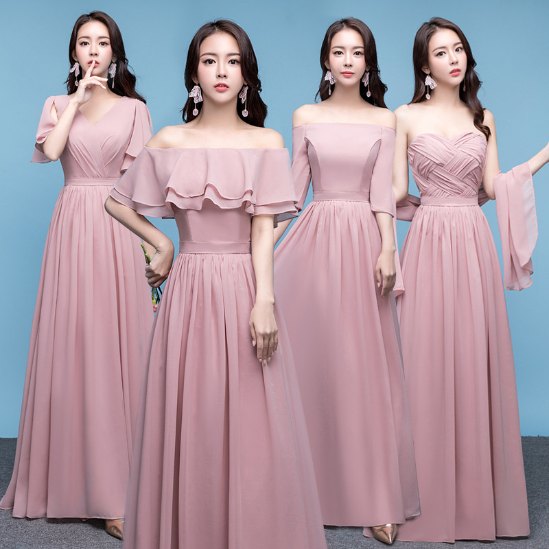 Sexy Blush Pink Bridesmaid Dresses V-neck Chiffon Lace Up Elegant Dress Women For Wedding Party Juniors Formal Dress Plus Size