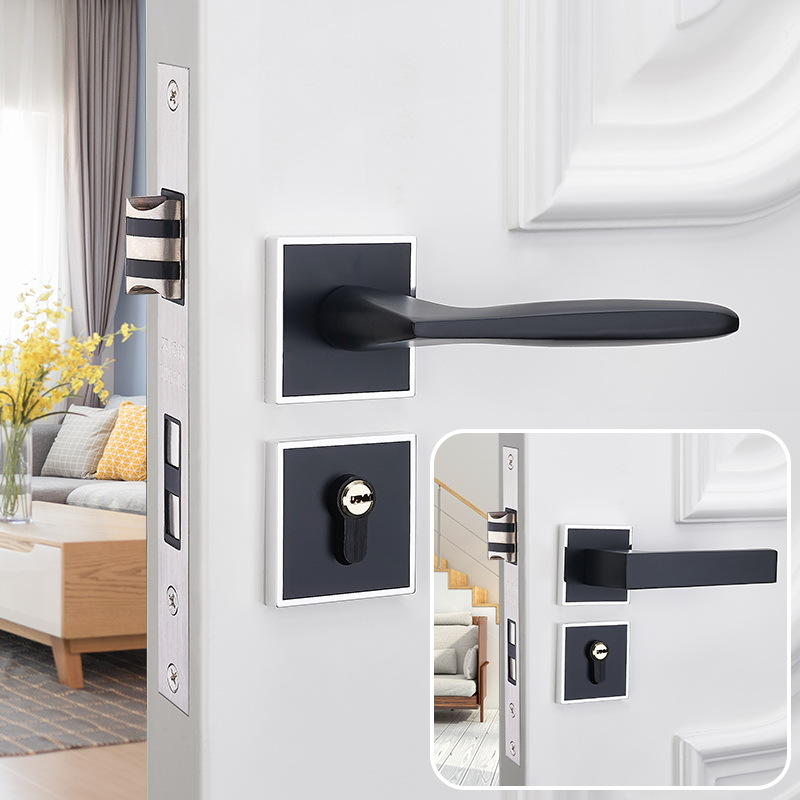 European Style Black And White with Pattern Mute Door Lock Indoor Bedroom Solid Wood Door Lock Household Universal Split Type Lo
