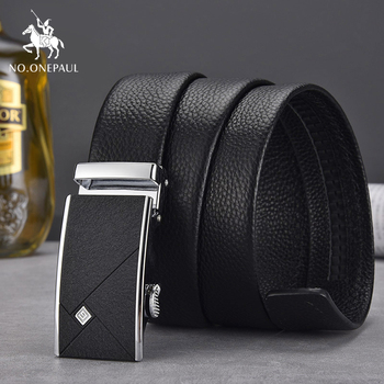 NO.ONEPAUL Alloy Buckle Belt Classic Fashion Luxury Cow Genuine Leather for Men Automatic