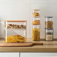 Plastic Kitchen Air Tight Dry Food Storage Container Refrigerator Organizer Box Fridge Items Coffee Cereals Organization Tools