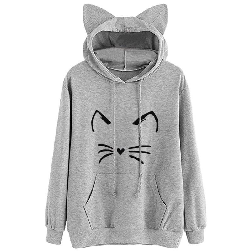 Nice Fall Women Long Sleeve Cute Cat Ear Hooded Pullover Sweatshirt O-Neck Casual Solid Cartoon Cat Print Female Hoodies