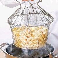 2020 pliable vapeur rinçage souche acier inoxydable friture panier passoire tamis maille crépines cuisine cuisson outils livraison directe 3