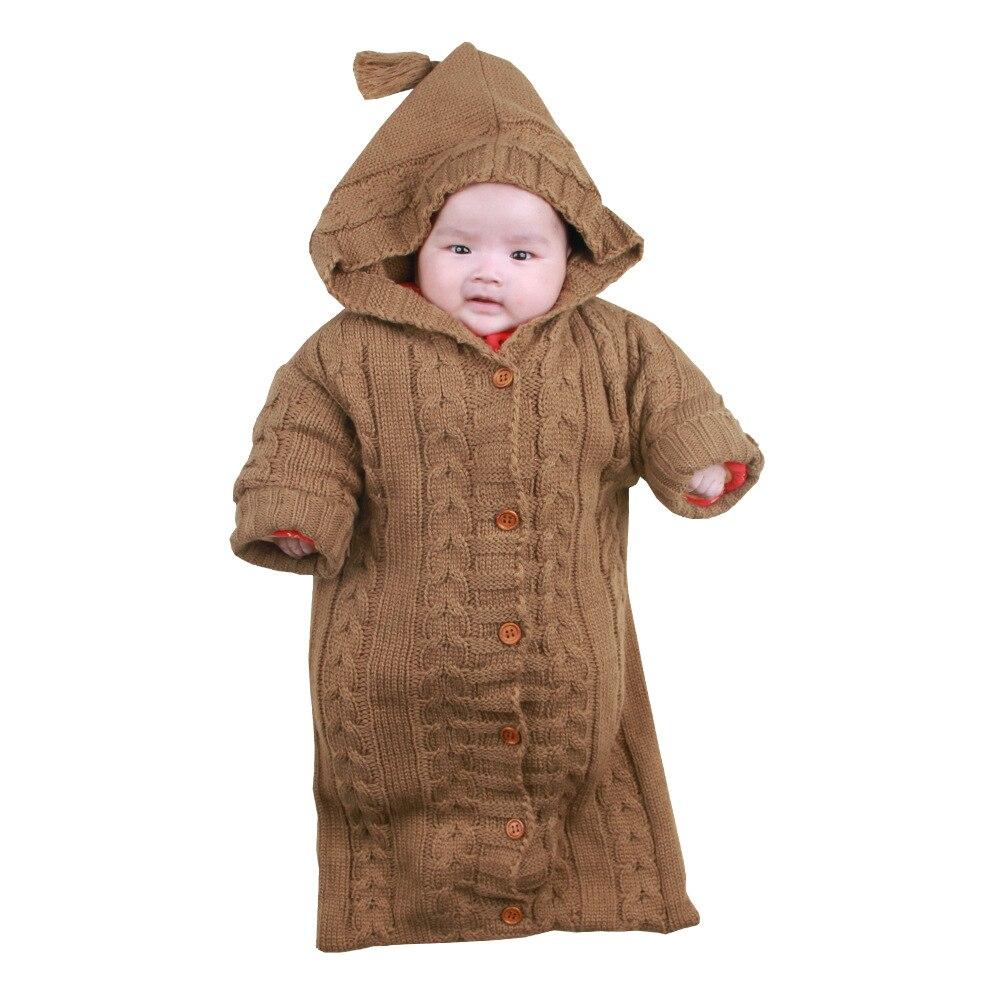 Baby Sleeping Bag Envelope Winter Kids Sleepsack Footmuff For Stroller Knitted Sleep Sack Newborn Swaddle Knit Wool