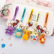 Anime Figure Pokemon Go Keychain Cute Cartoon PVC Pocket Monsters Pikachu Pendant Key Chain Key Ring Kids Key Holder Gift 2020