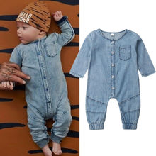 Newborn Toddler Kid Baby Boy Girl Clothes Denim Rompers Long