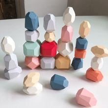21 Pcs Children Wooden Colored Stone Stacking Game Building Block Education Toy 54DA