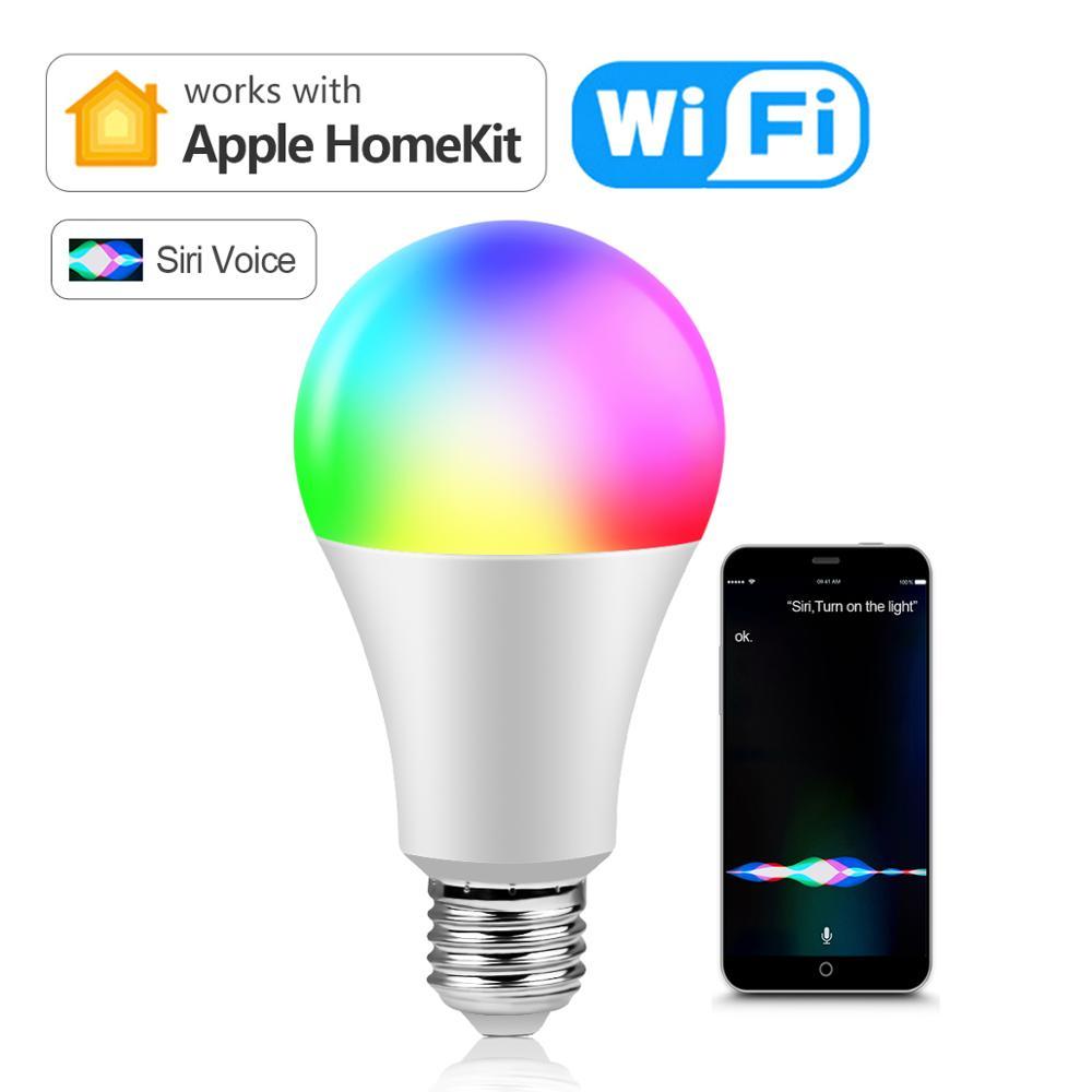 Wireless LED WIFI Smart lamp Homekit light Bulb 15W Siri Voice APP Control Homekit lamp RGB Smart Home lighting For Apple IOS|LED Bulbs & Tubes| - AliExpress