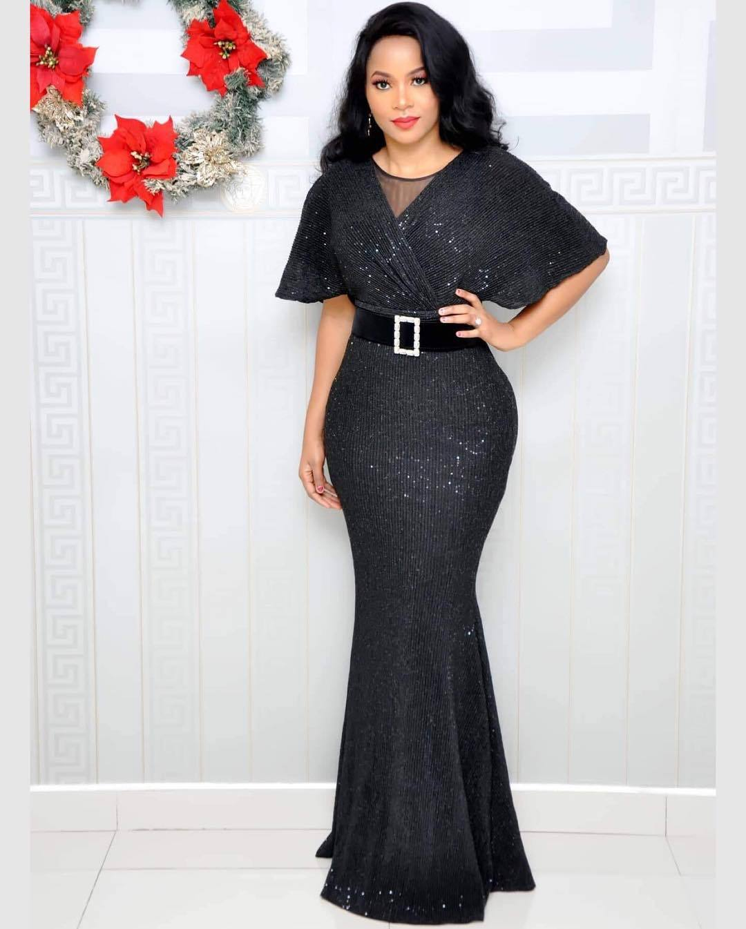 2019 New Autumn Elegent Fashion Style V-neck African Women Plus Size Long Dress