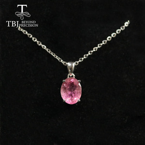 Image 3 - Natural Colorful Tourmaline Pendant necklace ,opal pendant necklace 925 sterling silver fine jewelry for women tbj jewery 2020