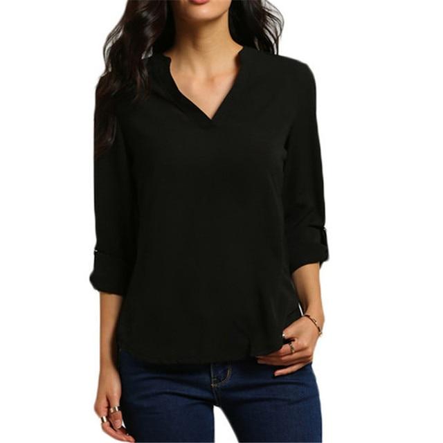 Blusa informal de Chifón con manga larga para Primavera, Camisa lisa y elegante para mujer, con cuello de pico, enrolladas, de talla grande 5XL 4
