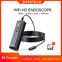 Depstech 8.0MP 5.0MP Industriële Endoscoop Hd Inspectie Camera Met 8 Led Verlichting IP67 Wifi Houvast Professionele Snake Camera