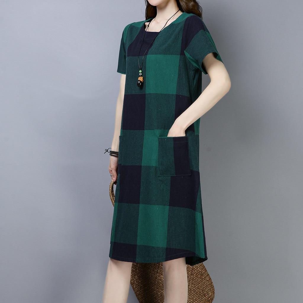 Vintage Plaid Print Dress Women s Short Sleeve Round Neck Ladies Dresses Casual