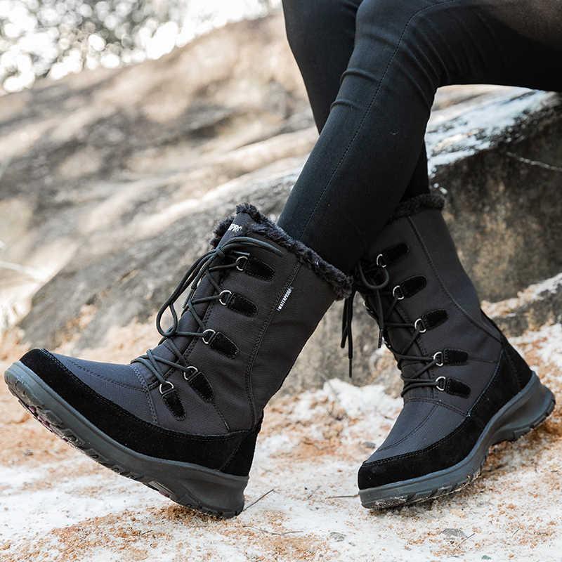 STQ kadınlar kış daireler topuklu sıcak peluş botları su geçirmez sıcak kadın kar botları ayakkabı kadın orta buzağı kar botları ayakkabı TF1036
