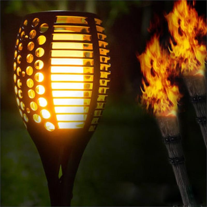 Waterproof Solar LED Torch Light Flame Wall Garden Yard Lamp Path Outdoor Safe