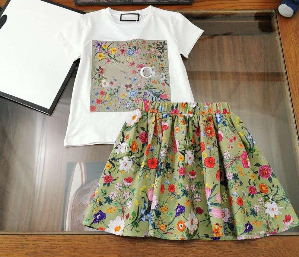 Instock Girls Clothing set White Letter Printed T shirt+ Flower SkirtT oddler Girls Clothing Brand Girls Clothes 2 to 12Y