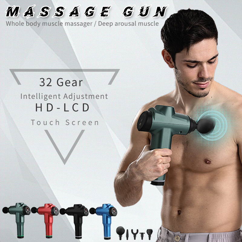 2020 New 7800r LCD Display Body Massage Gun Exercising Muscle Electric Massager for Body and Neck Vi