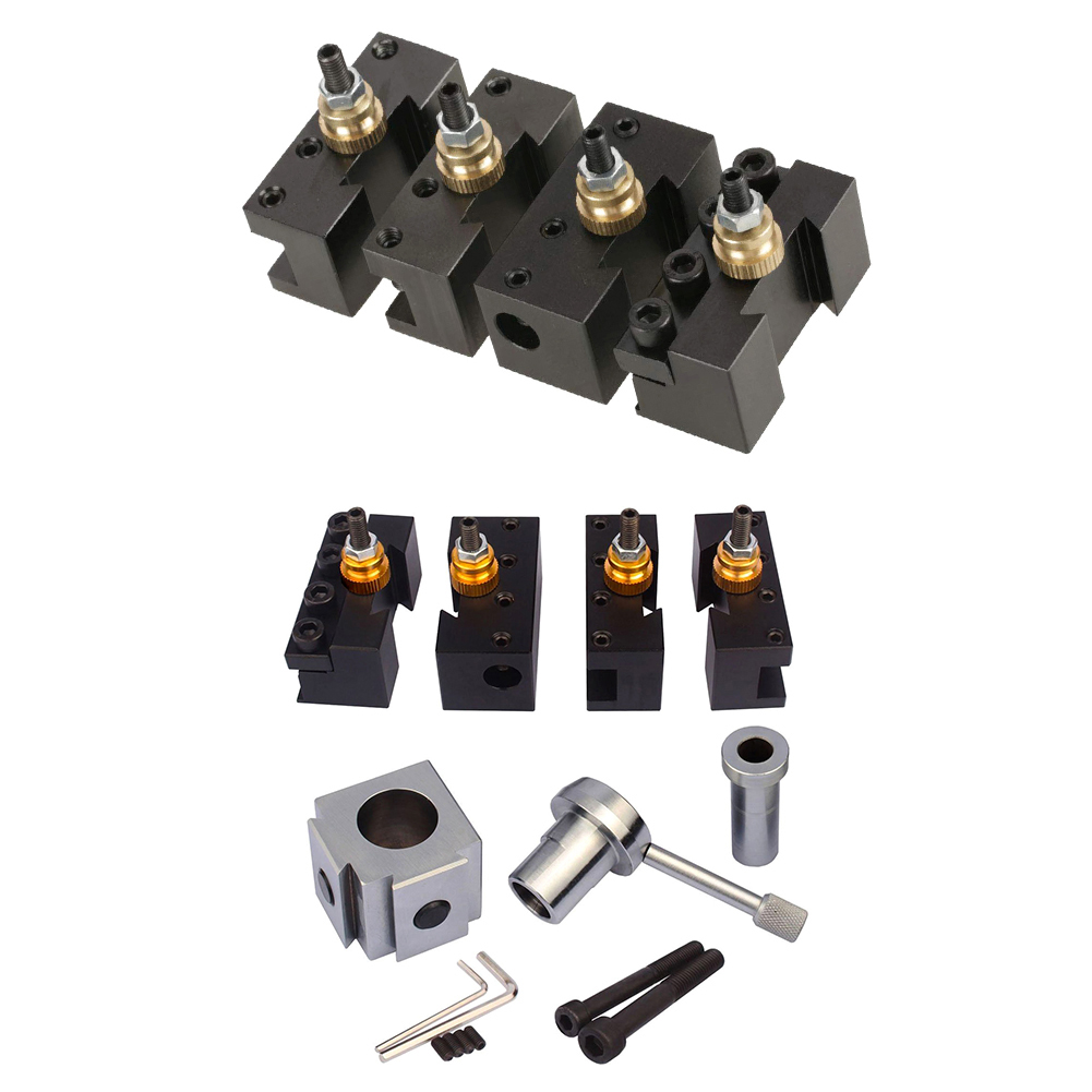 4pcs Mini Lathe Post Holder Kit Boring Blade Turning Facing Holder Set  Handle Angle Workpiece For Machine Quick Change Tool