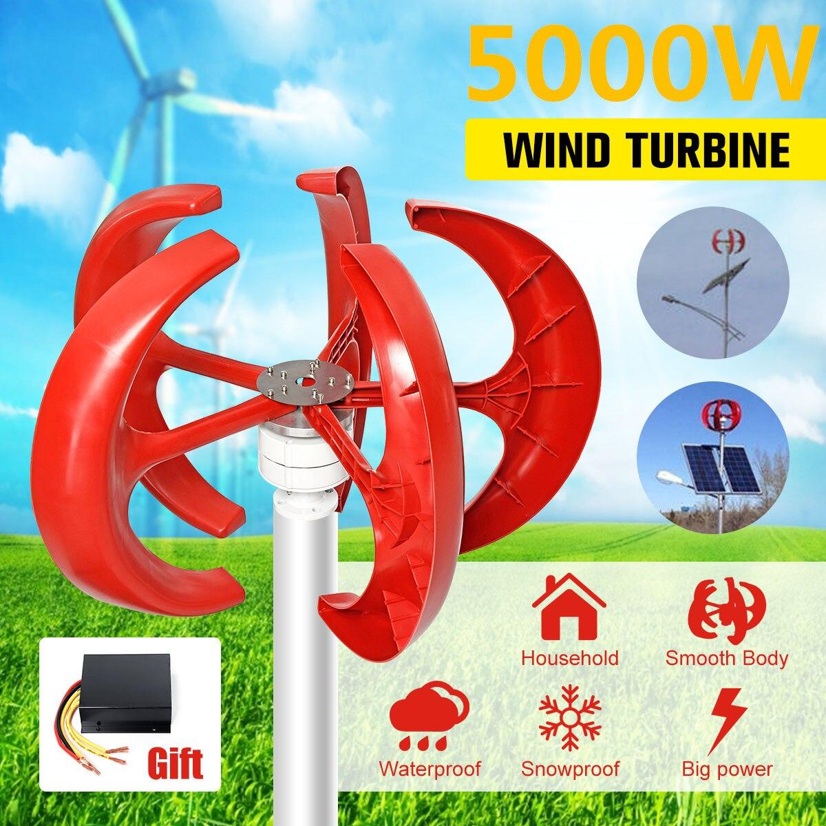 5000W AC 12V 24V Wind Turbines Generator Lantern 5 Blades Motor Kit Vertical Axi For Home Hybrids Streetlight Electromagnetic