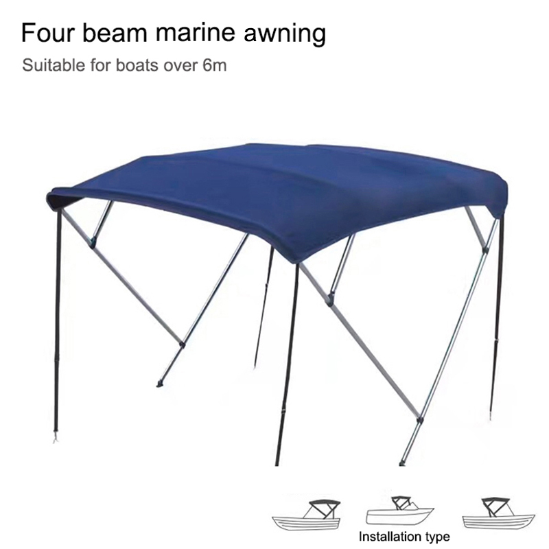 Boat Accessories 2/3/4 Beam Marine Awnings Yacht Awning Bimini Top Waterproof Cover UV Protection Canopy