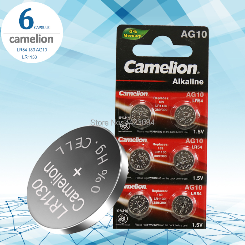 6pcs/lot Camelion 1.5V AG10 LR1130 Coin Cell Battery Batteries LR 1130 Alkaline AG10 389 LR54 SR54 SR1130W 189 LR1130 Button