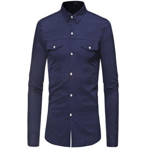 Image 4 - Plus size mens long sleeve shirt with lapel collar in autumn 2019