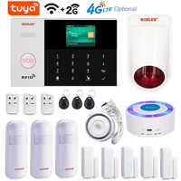 Tuya Smart Life-sistema de alarma de casa, con WIFI, GSM, 2G, 4G, 3G, opción de seguridad de la casa, inalámbrico, con cable, cámara, PIR, Sensor de puerta, sirena Solar