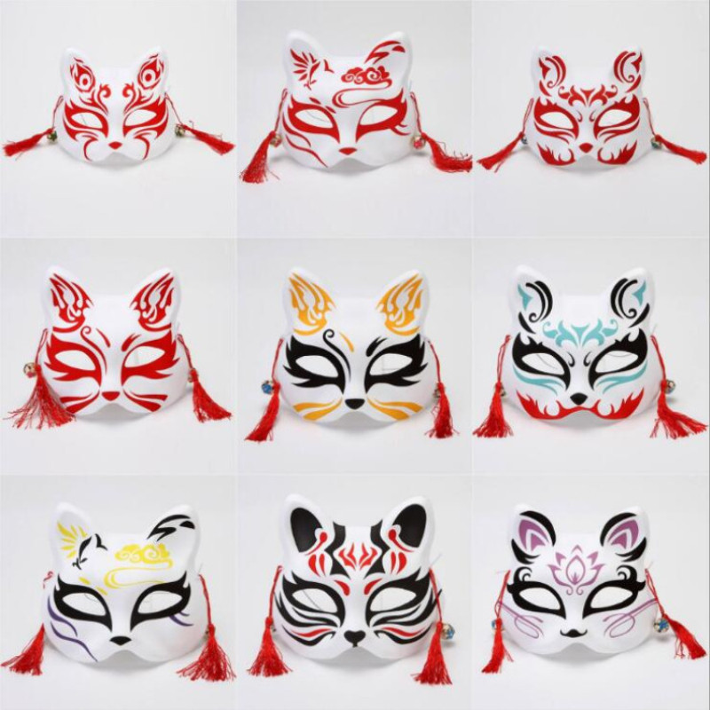 Fox Mask Hand-painted Japanese Mask Half Face PVC Fox Mask Masquerade Festival Ball Kabuki Kitsune Masks Cosplay Costume