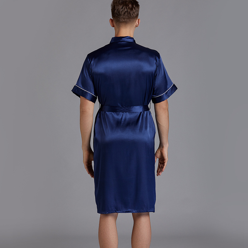 Two-Pieces Silk Nightgown Satin male Sleepwear Loose Silky short Sleeve Robe and Shorts bathrobe set for Men