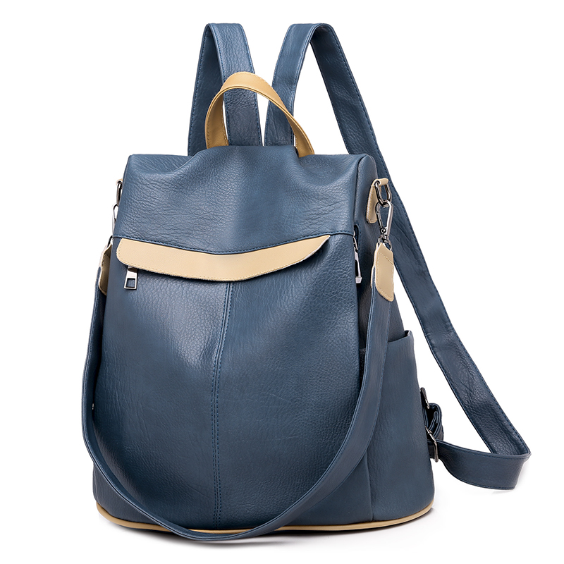 New Women Real Leather Backpacks Fashion Shoulder Bags Blue Patchwork Casual Daypacks Small Backpacks