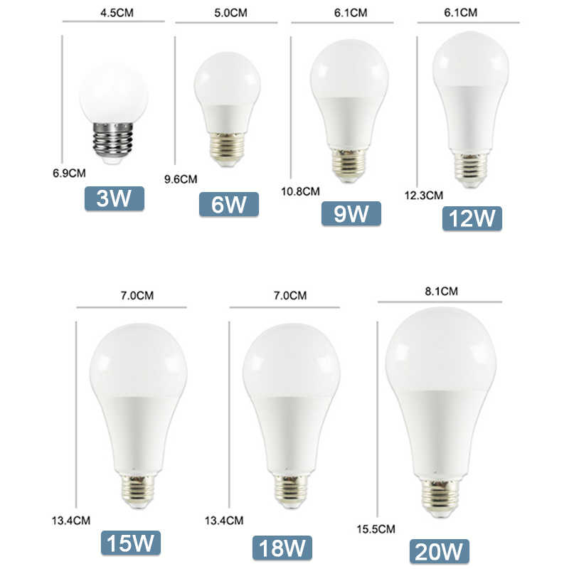 Bombilla LED E14 E27 lámparas LED de luz 3W 6W 9W 12W 15W 18W 20W AC 220V 230V 240V blanco lampara de mesa de aluminio lámparas luz Bombillas