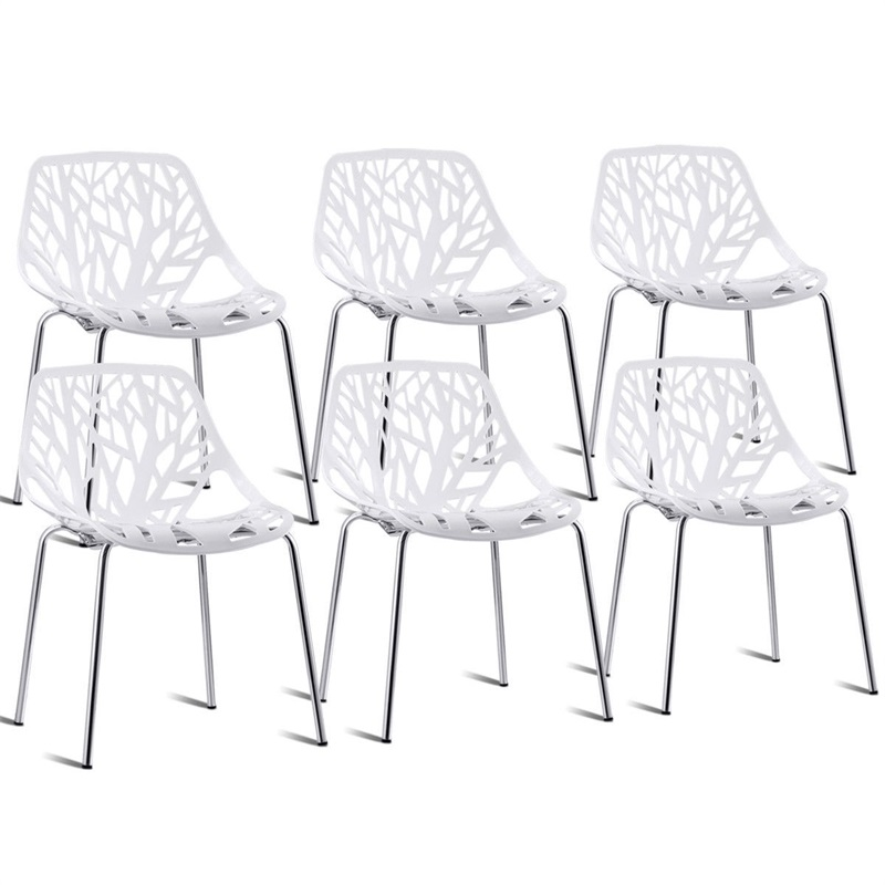 High Quality Set of 6 Accent Armless Plastic Dining Room Side Chairs Modern White Chair HW59405-6