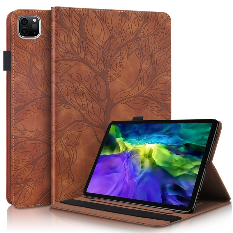 brown Black Emboss Tree PU Leather Flip Case for Funda iPad Pro 11 2020 Case Wallet Stand Tablet