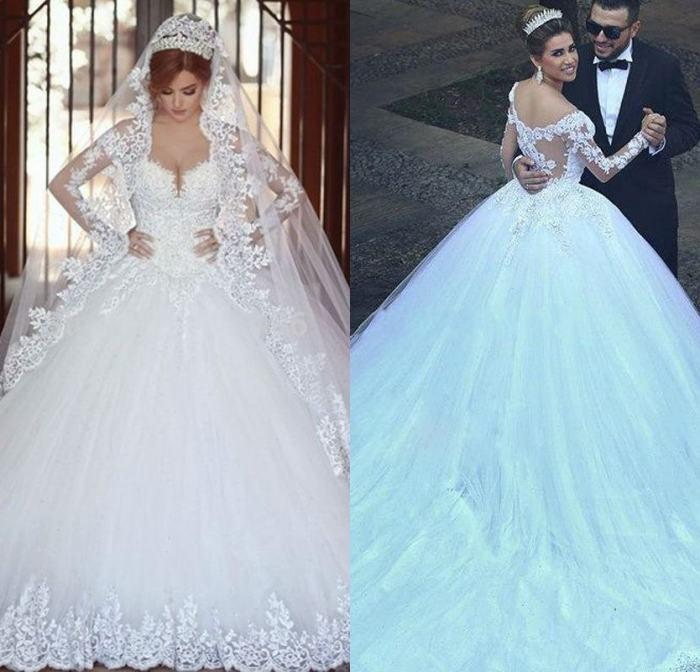Princess Gorgeous Long Sleeve Lace Wedding Dresss Sweetheart Vestido De Noivas 2019 Elegant Bridal Gown Ball Gown Abayas Dubai