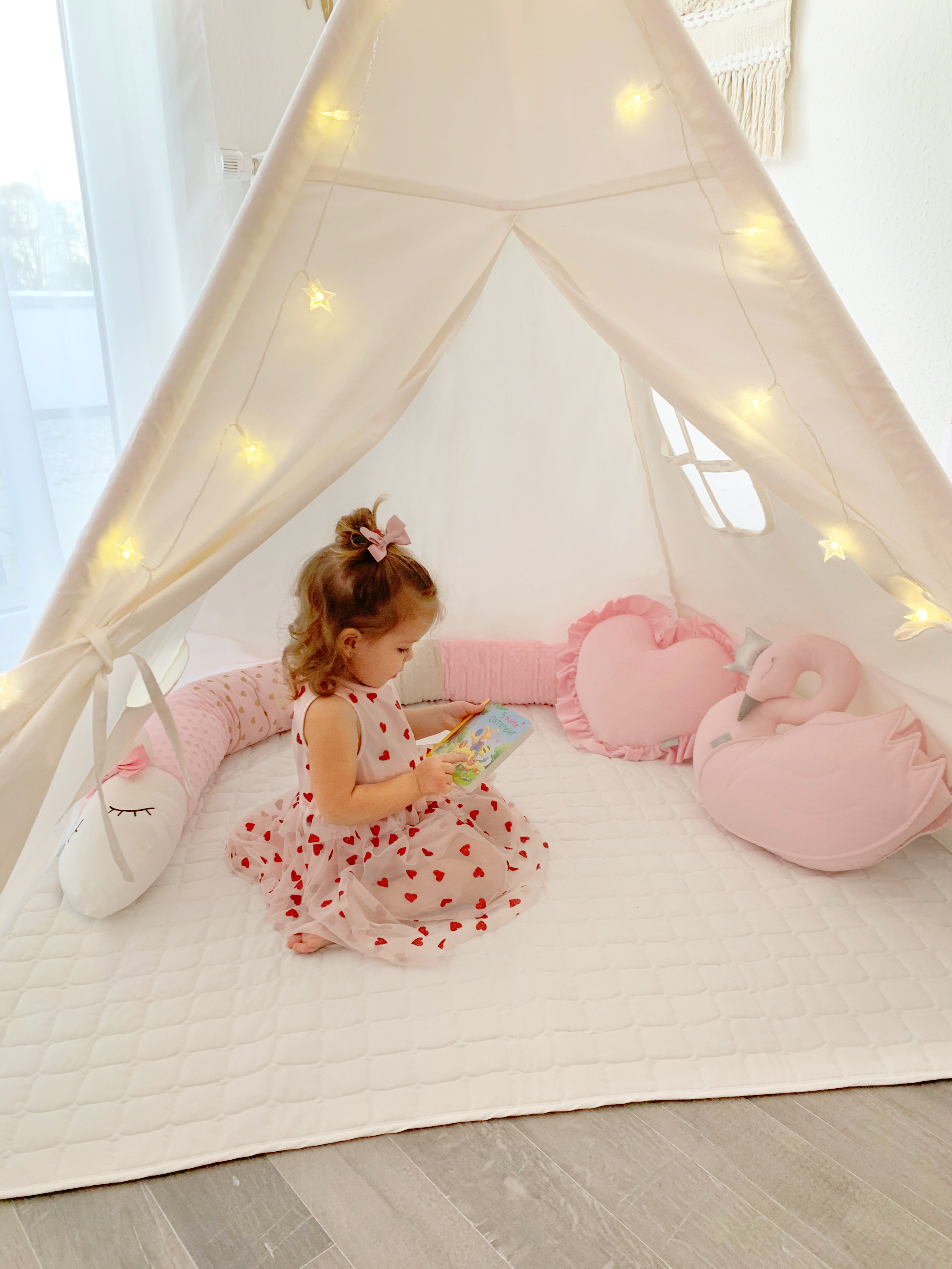 163cm Teepee Tent For Kids Playhouse With Floor Mat & Carry Case ForChildren Indoor Outdoor- White Cotton Canvas Tipi