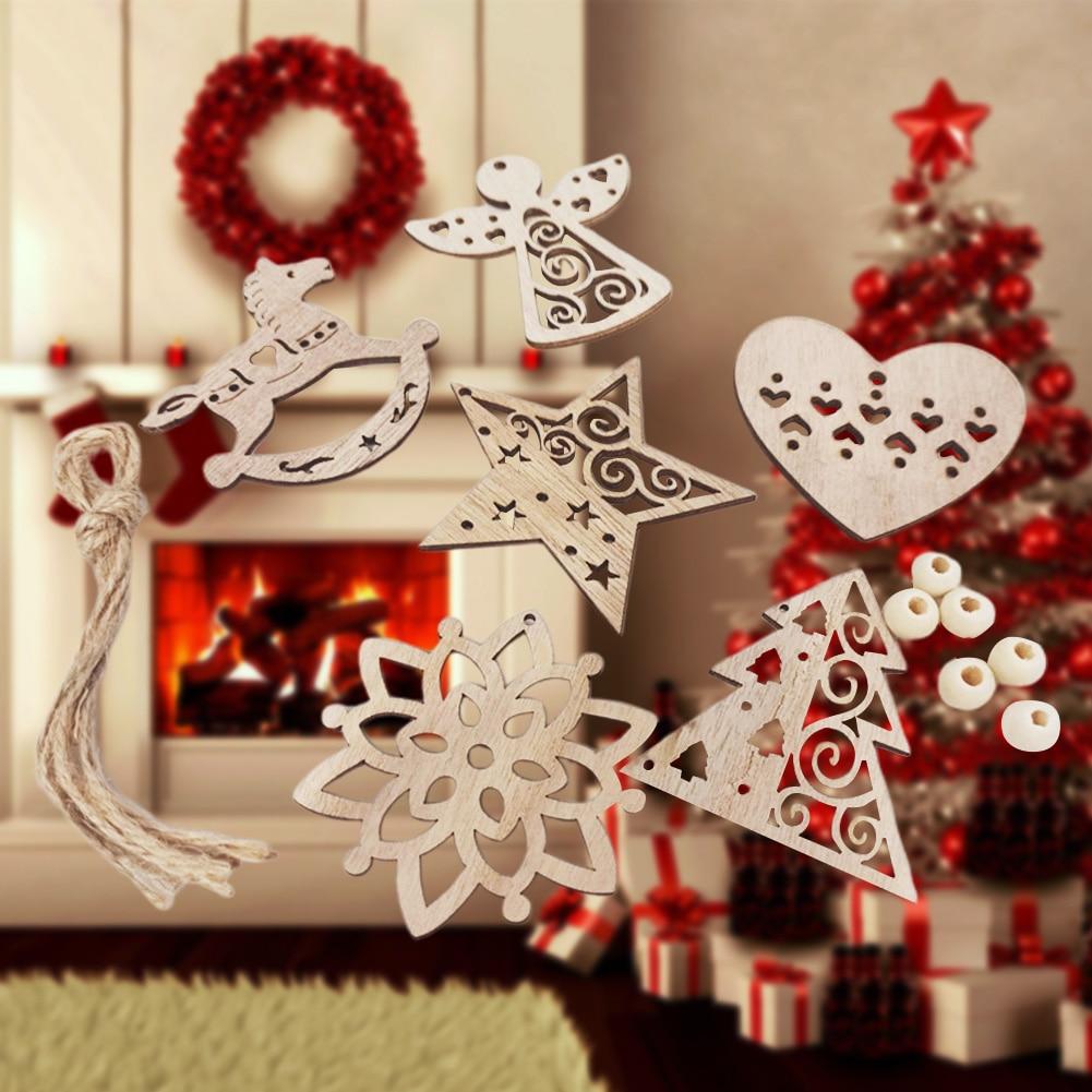 6pcs Christmas Tree Gift Home Pendant Accessories Wooden Ornament Craft Garden Indoor Party Door Hanging Decoration Small