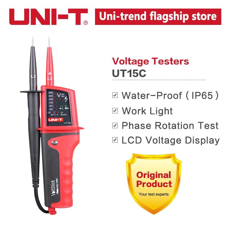 UNI-T Вольтметр переменного/постоянного тока, водонепроницаемый тестер напряжения, светодиодный индикатор, однопроводное Определение напря...