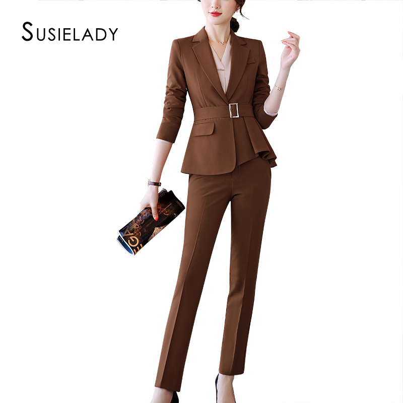 SUSIELADY Women Suits  Formal 2 Piece Set Women Blazers Waistband Office Wear Interview Suits Pant Suits Traje Mujer Female Set