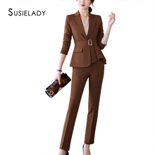 SUSIELADY Women Suits Formal 2 Piece Set Women Bl