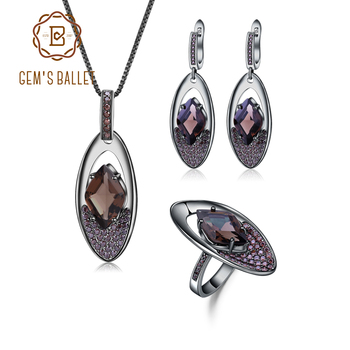 GEM'S BALLET Solid 925 Sterling Silver Pendant Earrings Ring Set Natural Smoky Quartz Vintage Gothic Punk Jewelry Set For Women