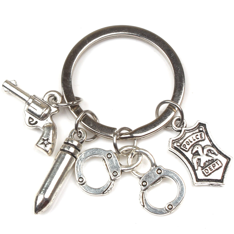 New Fashion Creative Pistol Handcuffs Keychain Badge Emblem Souvenir Key Ring Holiday Gift Police Key Chain Man Woman Accessorie