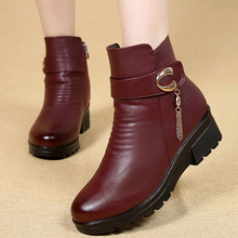 Woman Ankle Boots 2020 metal Chain Fashion Wedge platform boots warm plush Winter boots for Women Waterproof Non-slip boot women