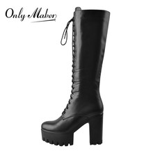 Onlymaker Women's Platform Black Matte Front Lace-Up Side Zip Knee High Boots Big Size Lady Fashion Classic Long Boots