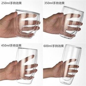 Image 5 - Podwójna ściana szklany kubek odporne na herbaty kufel do piwa mleka sok z cytryny kubek Drinkware filiżanki do kawy kubek na prezent