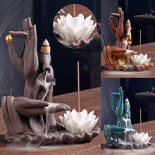 Buddha Hand Incense Sticks Holder Lotus Backflow Burner Purple Sand Smoke Waterfall Ceramic Censer Decorative