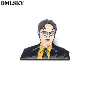 DMLSKY офис, ТВ-шоу Dwight Schrute металлические булавки эмаль броши для женщин мужчин отворот значок для рюкзака джинсовая булавка M4087